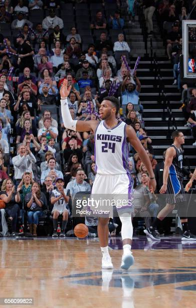 Buddy Hield of the Sacramento Kings reacts during the game against the Orlando Magic on March 13 2017 at Golden 1 Center in Sacramento California...