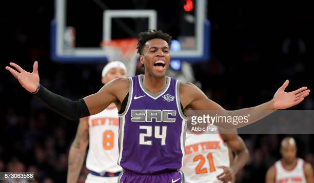 Buddy Hield of the Sacramento Kings reacts in the second half against the New York Knicks during their game at Madison Square Garden on November 11...
