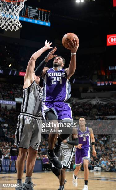 Buddy Hield of the Sacramento Kings shoots a lay up against the San Antonio Spurs during the game on March 19 2017 at the ATT Center in San Antonio...