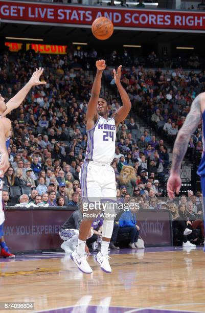 Buddy Hield of the Sacramento Kings shoots a three pointer against the Philadelphia 76ers on November 9 2017 at Golden 1 Center in Sacramento...