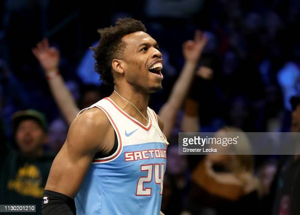 Buddy Hield of the Sacramento Kings shoots during the MTN DEW 3-Point Contest as part of the 2019 NBA All-Star Weekend at Spectrum Center on February...