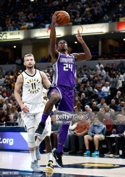 Buddy Hield of the Sacramento Kings shoots the ball against the Indiana Pacers at Bankers Life Fieldhouse on October 31 2017 in Indianapolis Indiana...