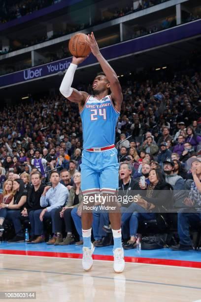 Buddy Hield of the Sacramento Kings shoots the ball against the Oklahoma City Thunder on November 19 2018 at Golden 1 Center in Sacramento California...
