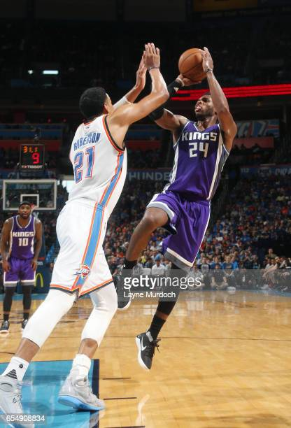 Buddy Hield of the Sacramento Kings shoots the ball against the Oklahoma City Thunder during the game on March 18 2017 at Chesapeake Energy Arena in...