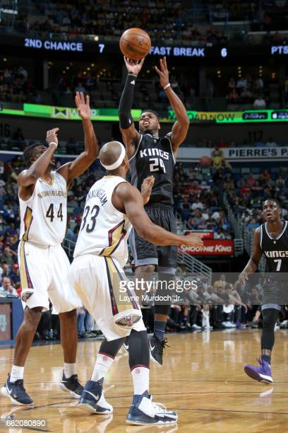 Buddy Hield of the Sacramento Kings shoots the ball against the New Orleans Pelicans on March 31 2017 at the Smoothie King Center in New Orleans...