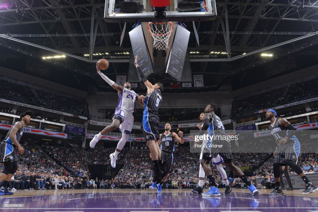Buddy Hield #24 of the Sacramento Kings shoots the ball against the Orlando Magic on March 13, 2017 at Golden 1 Center in Sacramento, California.