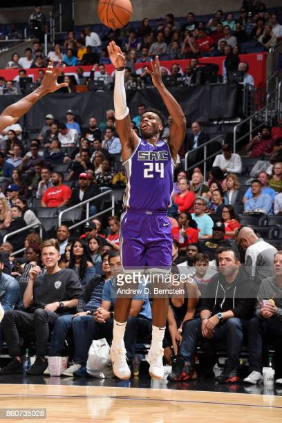 Buddy Hield of the Sacramento Kings shoots the ball against the LA Clippers on October 12 2017 at STAPLES Center in Los Angeles California NOTE TO...