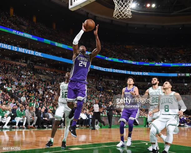 Buddy Hield of the Sacramento Kings shoots the ball against the Boston Celtics on November 1 2017 at the TD Garden in Boston Massachusetts NOTE TO...