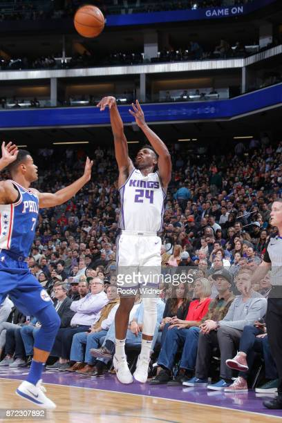 Buddy Hield of the Sacramento Kings shoots the ball against the Philadelphia 76ers on November 9 2017 at Golden 1 Center in Sacramento California...