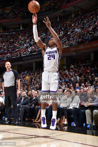 Buddy Hield of the Sacramento Kings shoots the ball against the Cleveland Cavaliers on December 6 2017 at Quicken Loans Arena in Cleveland Ohio NOTE...