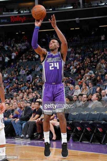 Buddy Hield of the Sacramento Kings shoots the ball against the Dallas Mavericks on February 3 2018 at Golden 1 Center in Sacramento California NOTE...