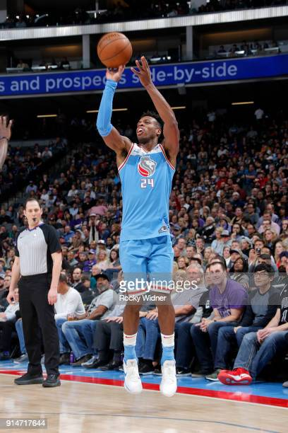 Buddy Hield of the Sacramento Kings shoots the ball against the Chicago Bulls on February 5 2018 at Golden 1 Center in Sacramento California NOTE TO...