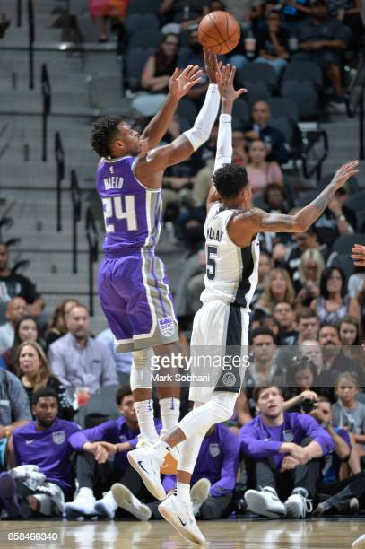 Buddy Hield of the Sacramento Kings shoots the ball against the San Antonio Spurs on October 6 2017 at the ATT Center in San Antonio Texas NOTE TO...