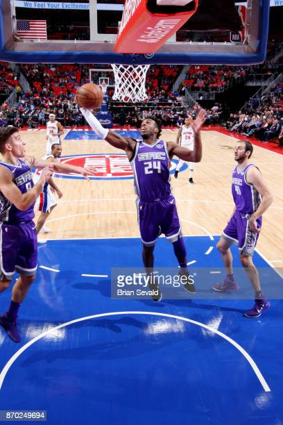 Buddy Hield of the Sacramento Kings shoots the ball during the game against the Detroit Pistons on November 4 2017 at Little Caesars Arena in Detroit...
