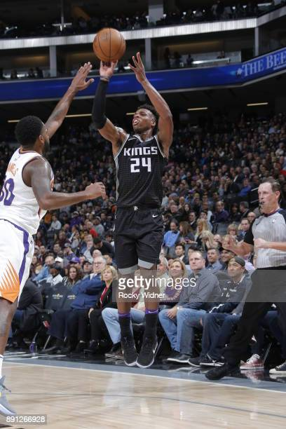 Buddy Hield of the Sacramento Kings shoots the ball during the game Phoenix Suns on December 12 2017 at Golden 1 Center in Sacramento California NOTE...