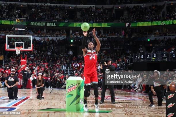 Buddy Hield of the Sacramento Kings shoots three point basket during the 2020 NBA All-Star - MTN DEW 3-Point Contest on February 15, 2020 at the...