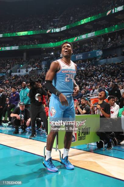 Buddy Hield of the Sacramento Kings smiles during the 2019 Mtn Dew 3Point Contest as part of the State Farm AllStar Saturday Night on February 16...