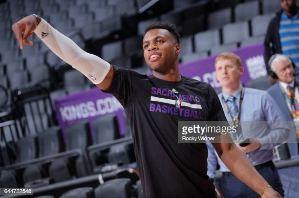 Buddy Hield of the Sacramento Kings warms up before a game against the Denver Nuggets on February 23 2017 at Golden 1 Center in Sacramento California...