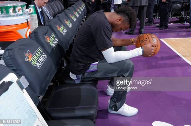 Buddy Hield of the Sacramento Kings warms up prior to the game against the Denver Nuggets on February 23 2017 at Golden 1 Center in Sacramento...
