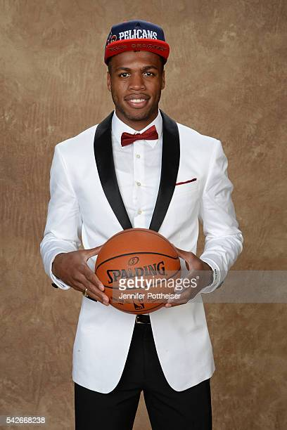 Buddy Hield poses for a portrait after being drafted number six overall to the New Orleans Pelicans during the 2016 NBA Draft on June 23 2016 at...