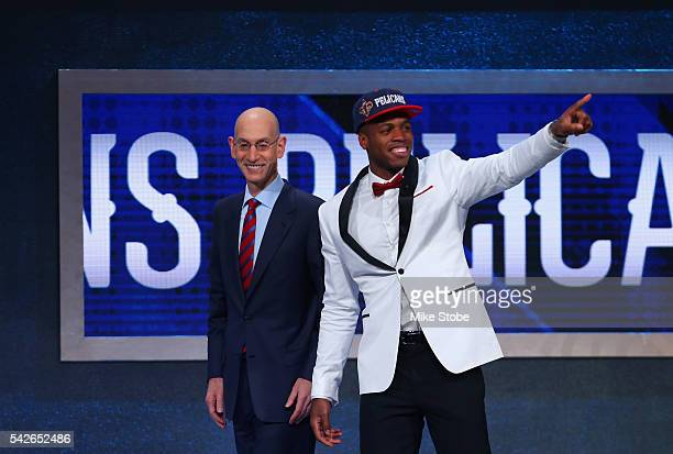 Buddy Hield poses with Commissioner Adam Silver after being drafted sixth overall by the New Orleans Pelicans in the first round of the 2016 NBA...
