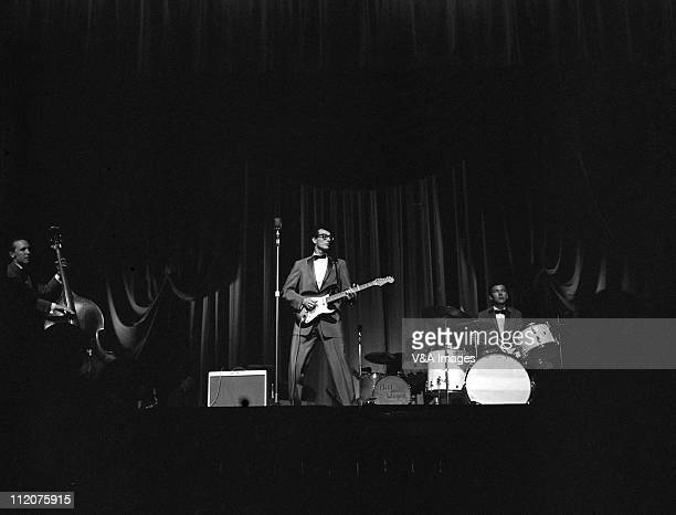 Buddy Holly and the Crickets Joe B Mauldin Buddy Holly Jerry Allison perform on stage 2 March 1958
