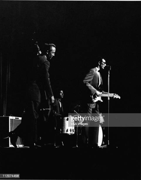 Buddy Holly And The Crickets Joe B Mauldin Jerry Allison Buddy Holly perform on stage 2 March 1958