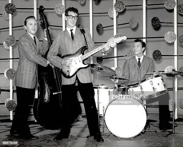 Buddy Holly And The The Crickets Joe B Mauldin Buddy Holly and Jerry Allison pose for a group shot on the set of the BBC television show 'Off The...