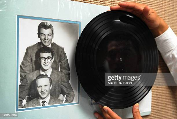 Buddy Holly Apartment Tapes sixsong acetate record featuring songs recorded weeks before Holly's death on display before an auction of the late...