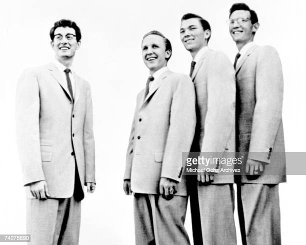 Buddy Holly bassist Joe B Mauldin drummer Jerry Allison and guitarist Niki Sullivan of the rock and roll band Buddy Holly The Crickets pose for a...