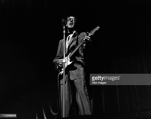 Buddy Holly performs on stage playing Fender Stratocaster guitar 25 March 1958