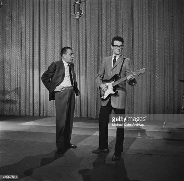 Buddy Holly performs on the Ed Sullivan Show at the Ed Sullivan Theatre on January 26, 1958 in New York City, New York.