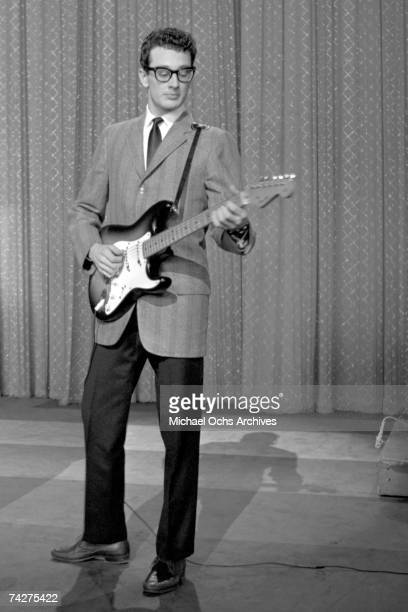 NEW YORK JANUARY 26 Buddy Holly performs on the Ed Sullivan Show at the Ed Sullivan Theatre on January 26 1958 in New York City New York
