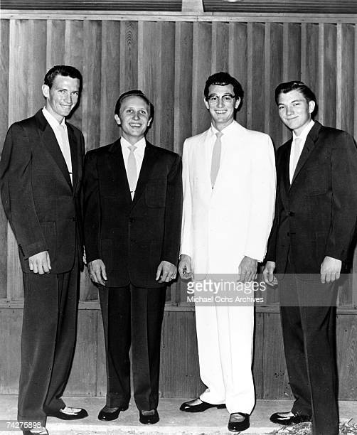 Buddy Holly The Crickets including Niki Sullivan Joe B Mauldin Buddy Holly and Jerry Allison pose for a portrait in circa 1957