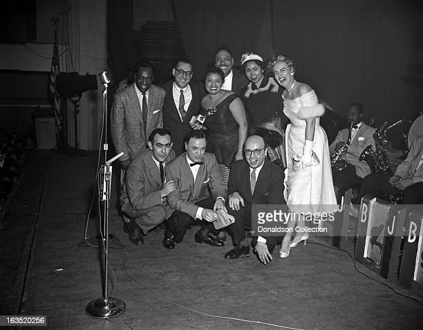 Buddy Johnson UNDIENTIFIED Ella Johnson Big Joe Turner his wife and Jackie Freed with Jerry Wexler Alan Freed and Ahmet Ertegun pose for a group...