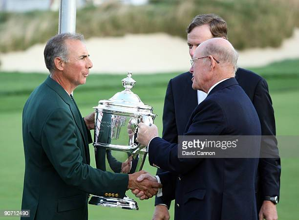 Buddy Marucci the USA team captain is presented with the trophy by Hanish Ritchie Captain of the R&A at the closing ceremony after the final...