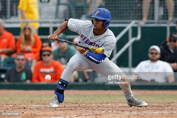 Buddy Reed of the Florida Gators bunts the ball against the Miami Hurricanes on February 28 2016 at Alex Rodriguez Park at Mark Light Field in Coral...