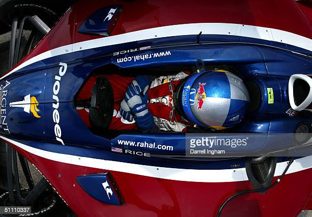 Buddy Rice sits in the Rahal Letterman Racing Pioneer/Argent Honda GForce during practice for the Indy Racing League IndyCar Series Menards AJ Foyt...