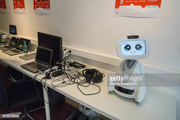 Buddy the robot for company which ibelongs to the Blue Frog society is presented during the opening of Robot Lab showroom on September 13 2016 in...