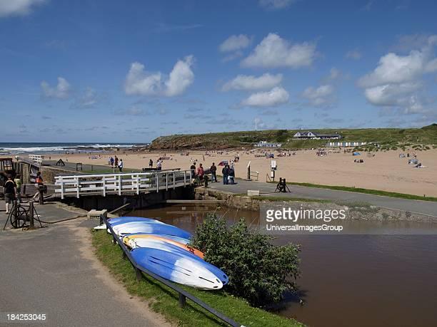 Bude canal lock gates and Summerleaze beach Cornwall UK