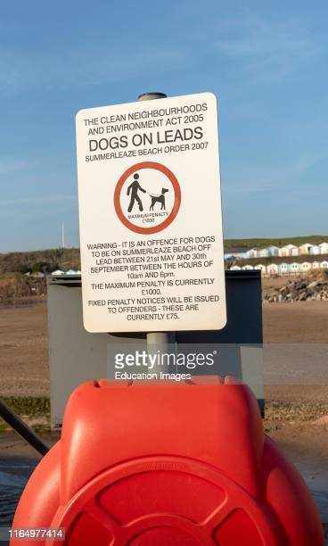 Bude, Cornwall, England, UK, Official notice regarding rule for keeping dogs on leads on Summer lease Beach in Bude, UK.