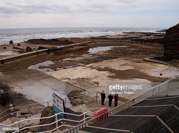 Bude seapool when empty of water Cornwall UK