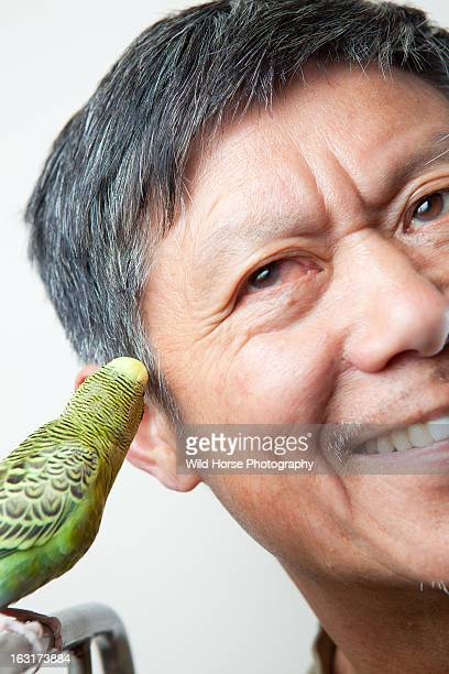 Budgerigar Whispering With A Chinese Man