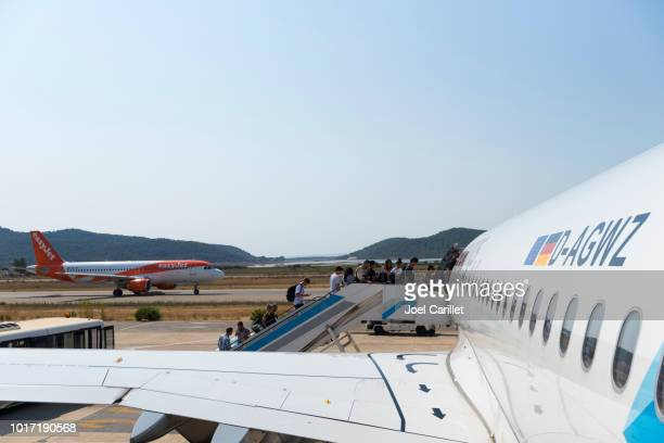 Budget airlines Eurowings and easyJet in Ibiza, Spain
