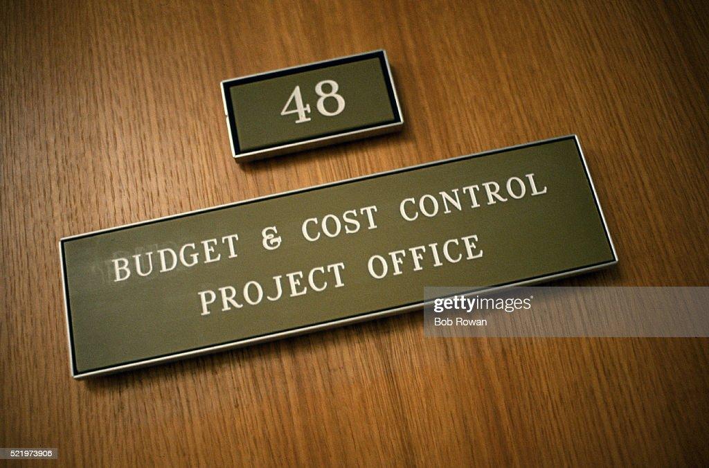 Budget And Cost Control Office Door Plaque
