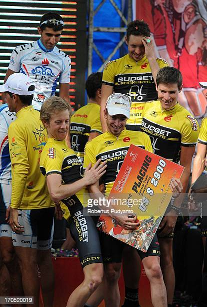 Budget Forklifts riders, Marc Williams , celebrates his victory after Budget Forklfts Team get runner-up in Team General Classification by time in...