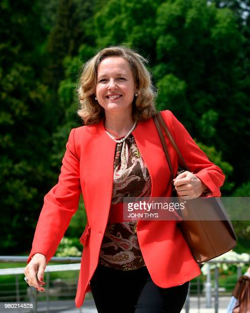 EU budget manager and Spain's Economy Minister Nadia Calvino arrives for a Eurogroup meeting at Senningen Castle in Luxembourg on June 21 2018 The...