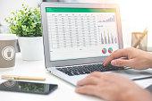Budget planning, spreadsheet on laptop screen