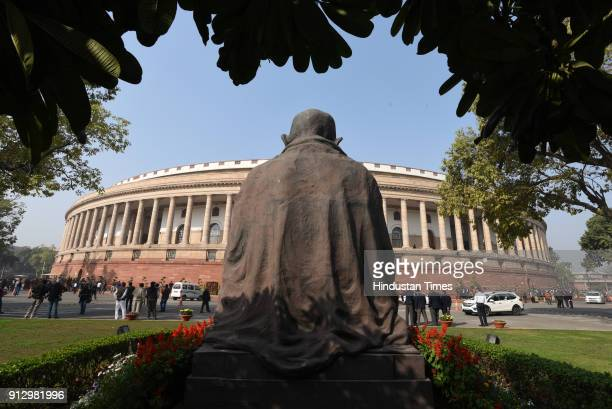 Budget session at Parliament House on February 1 2018 in New Delhi India Agriculture got prime attention in the Union Budget 2018 presented by...
