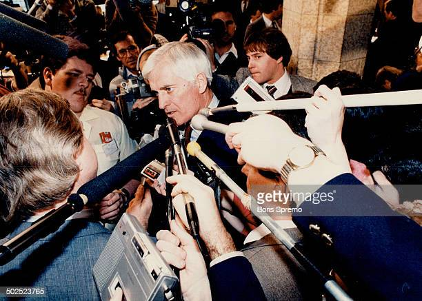 Budget slammed Liberal leader John Turner talks to reporters while Finance Minister Michael WIlson delivered his budget to the House of Commons...